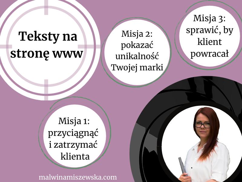 Teksty na stronę WWW / Malwina Miszewska